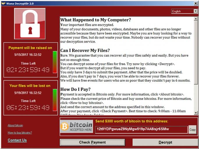 Ransomware WannaCry / WanaCrypt0r 2.0 (Screenshot: Avast)