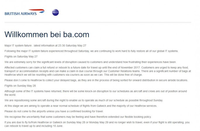 IT-Ausfall legt British Airways in Heathrow und Gatwick lahm (Screenshot: silicon.de)