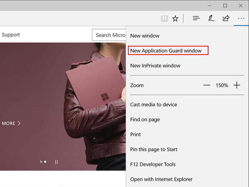 Der Browser Edge bietet mit Application Guard geschützte Fenster an. (Bild: Microsoft)