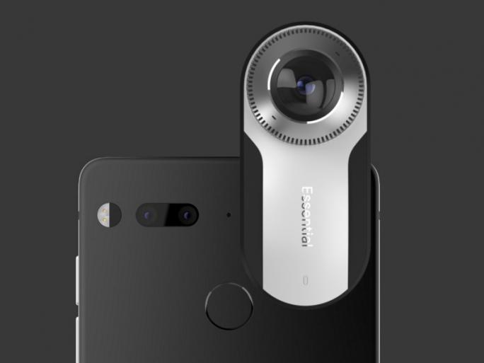 Das Essential Phone PH-1 mit der über eine Magnetverbindung andockbaren 360-Grad-Kamera (Bild: Essential Products)