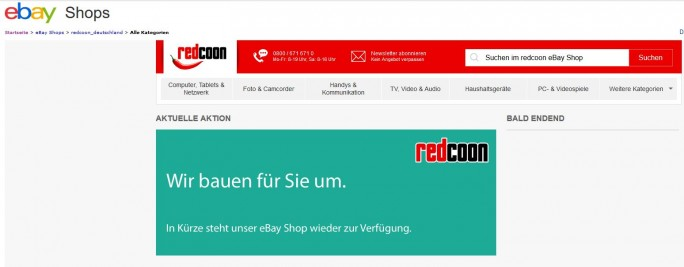 Grund für die Pause war vor allem die Zusammenführung der Produktdatenbank im Hintergrund. Die soll auch für die Angebote auf Ebay in Kürze abgeschlossen sein (Screenshot: silicon.de)