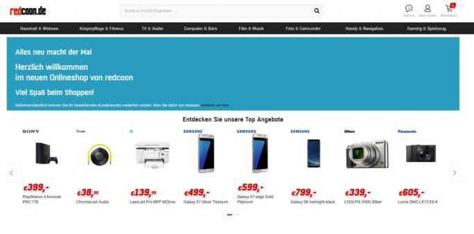 Der aktualisierte und neu sortierte Shop von Redcoon (Screenshot: silicon.de)