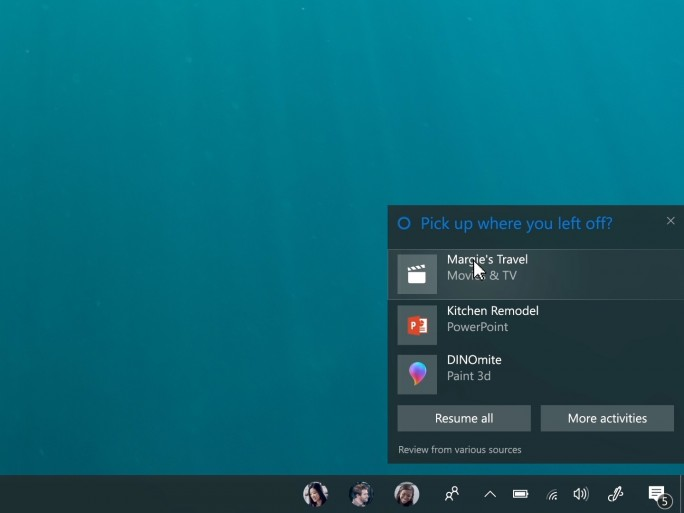 Mit dem Fall Creators Update ermöglicht es Microsoft, begonnene Arbeiten auf einem anderen Gerät fortzusetzen. (Bild: Microsoft)
