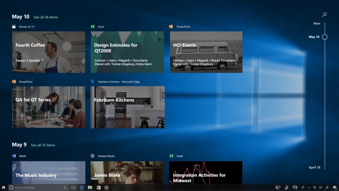 """Die Funktion """"Timeline"""" bietet einfachen Zugriff auf zuletzt geöffnete Apps, Dateien und Websites. (Bild: Microsoft)"""