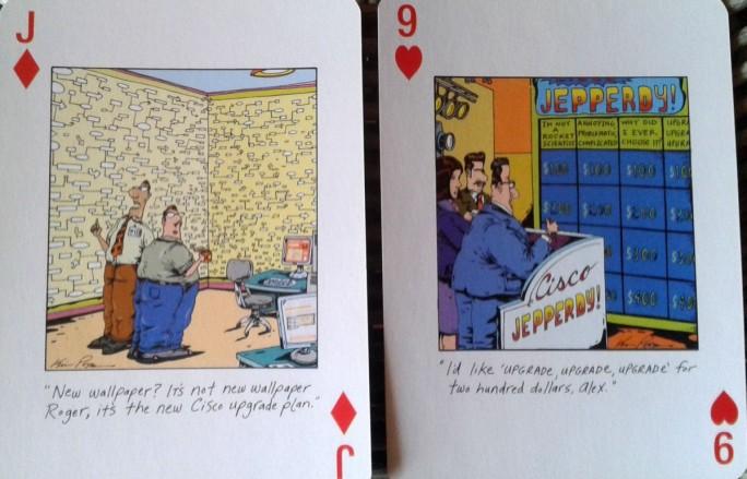 Ciscos Upgrade-Politik bot lange reichlich Ansatzpunkte für Kritik und Spott - wie hier bei einem von Mitbewerber Juniper vor etwa 10 Jahren verteilten Kartenspiel (Bild: Peter Marwan)