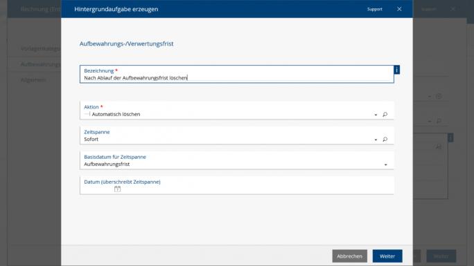 Schon beim Erstellen von entsprechenden Dokumenten kann in der Fabasoft Cloud automatisch vordefiniert werden, wann die Daten gelöscht werden sollen – eine wichtige Funktionalität, gerade in Hinblick auf die neue EU-DSGVO. (Screenshot: Fabasoft)