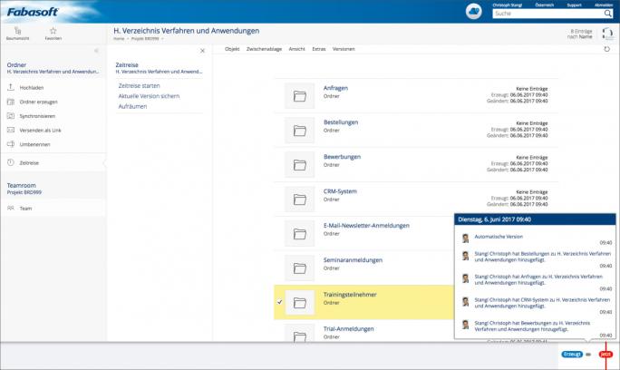 Die Funktion der Zeitreise erstellt lückenlose Versionen von Dokumenten und sogar ganzen Projekten und sorgt somit für die vollständige Nachvollziehbarkeit aller Änderungen und Zugriffe auf Daten. (Screenshot: Fabasoft)