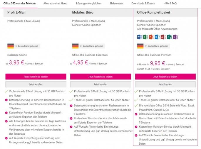 Office 365 bei der Deutschen Telekom im Überblick, Tarife Stand 30. Juni 2017 (Screenshot: silicon.de)