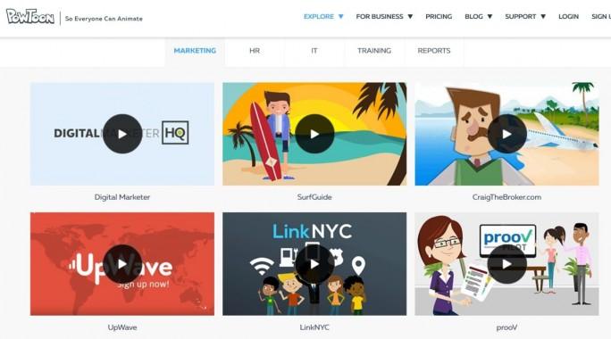 Das cloudbasierte Programm Powtoon erstellt eine Präsentation auf Basis von Videos, Cartoons, Symbole und animierten Figuren (Screenshot: Mehmet Toprak)
