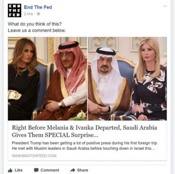 Typischer Aufbau einer Fake-News bei Facebook: Aktuelles Thema, nichtssagende aber vielversprechende Überschrift, und gezielte Ansprache einer Lesergruppe mit einer bestimmten Orientierung. (Screenshot: Trend Micro)