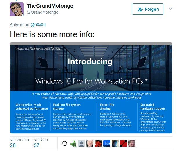 """Der offenbar Microsoft nahestehende Twitter-Nutzer """"TheGrandMofongo"""" hat Slides zu einer speziellen Workstation-Variante von Windows 10 entdeckt (Screenshot: silicon.de)"""