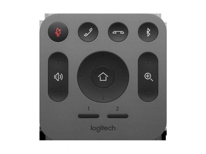 Die Fernbedienung für Logitechs MeetUp. Alternativ steht eine App für Android und iOS zur Verfügung, die dieselben Funktionen bietet (Bild: Logitech).
