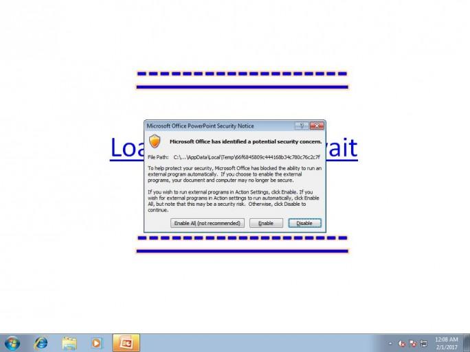 Damit die Malware aktiv werden kann, müssen Nutzer zuerst diese Warnmeldung ignorieren. (Screenshot: Trend Micro)