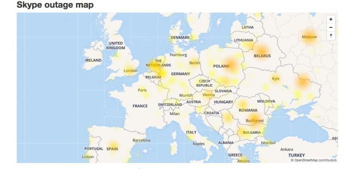 """Ausmaß und Verbreitung des Skype-Ausfalls vom Dienstag, 20.06.2017. (Quelle: <a href=""""http://downdetector.com/status/skype/map/"""" target=""""_blank"""">downdetector.com</a>)"""