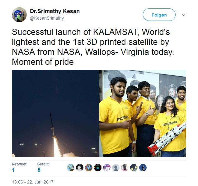 Dr. Srimathy Kesan, Gründer und CEO von Space Kidz India, berichtet auf Twitter über den Erfolg der von ihr unterstützen Schülergruppe aus Chennai (Screenshot: silicon.de)