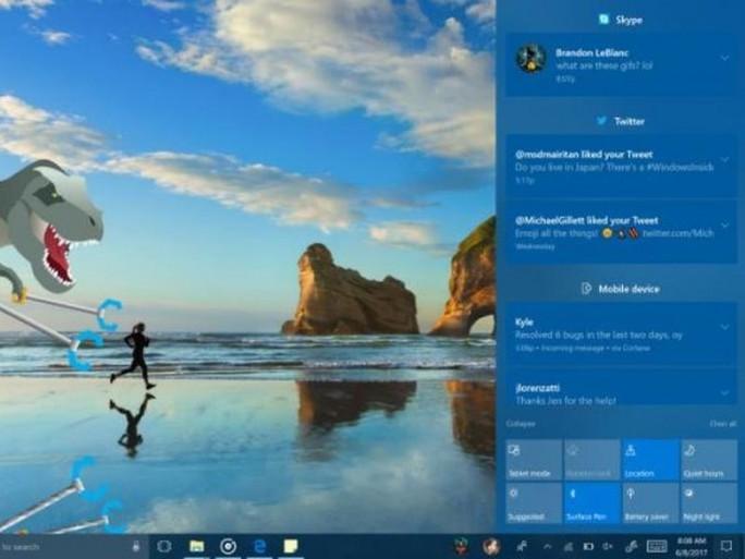 Das umgestaltete Info-Center in Windows 10 Build 16215  (Bild: Microsoft)