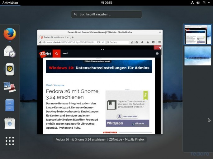 Die neue Version der Red Hat Linux-Distribtion: Fedora 26. (Screenshot: ZDNet.de]