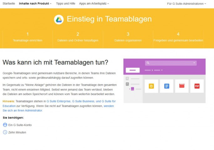 "Die in den USA als Team Drives bezeichneten Funktionen nennt Google in Deutschland ""Teamablagen"" (Screenshot: silicon.de)"