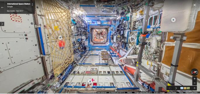 Die Internationale Raumstation kann nun auch via Google Street View besucht werden (Bild: Google)