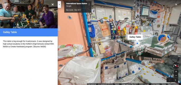 Mit dem ISS-Street-View-Projekt führt Google auch Informationsbereiche ein, in denen bestimmte Objekte näher erläutert werden. (Bild: Google)