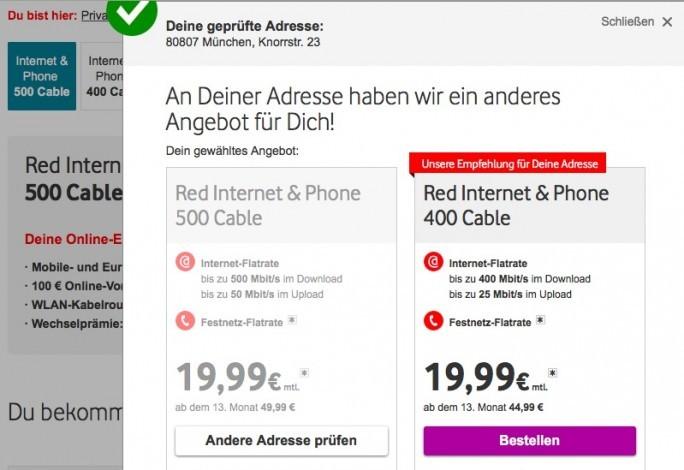 Vodafone-Kabel mit 500 MBit/s ist in München noch nicht überall verfügbar. (Screenshot: ZDNet.de)
