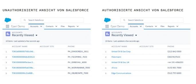 Tokenisieren von Daten am Beispiel von Salesforce (Screenshot: eperi)