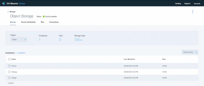 IBM Bluemix Object Storage v1 soll zum 24. August 2017 still gelegt werden. Nutzer sollen Anwendungen statt dessen mit v3 verbinden und alle Daten aus den Instanzen löschen. (Bild: IBM)