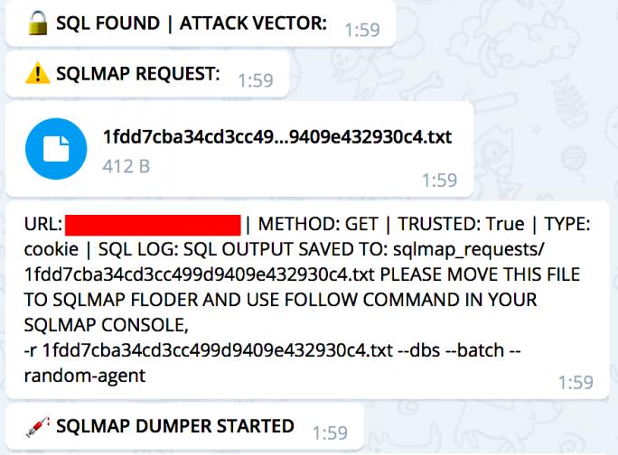 Katyusha Scanner erlaubt auch den automatisierten Dump ganzer Datenbanken von angreifbaren Webservern (Screenshot: Recorded Future)
