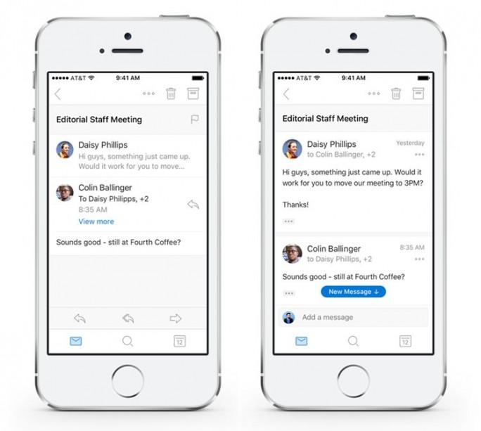 Die Konversationsansicht der Outlook-App bisher (links) und künftig (Bild: Microsoft)