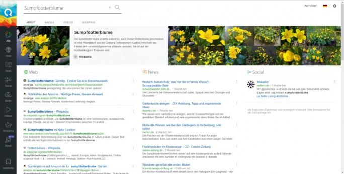 """Suchergebnisse werden bei Qwant direkt in die drei Kategorien """"Web"""", """"News"""" und """"Social"""" unterteilt und getrennt nach Kategorie angezeigt. Anzeigen sind durch eine dünne, graue Linie abgetrennt und oberhalb der Suchergebnisse platziert (Screenshot: silicon.de)"""