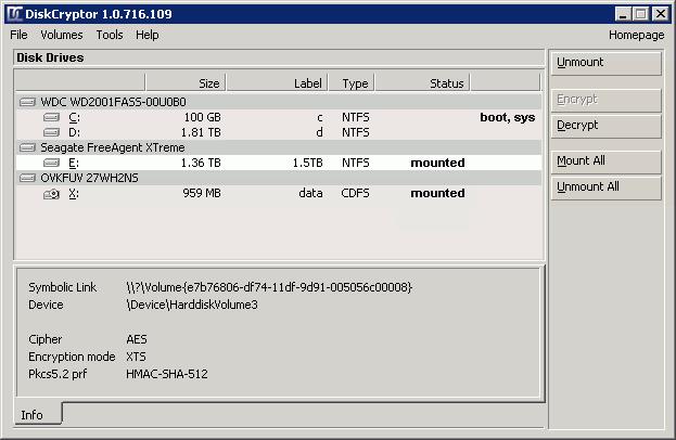 DiskCryptor ist ein freies Tool für die Verschlüsselung von Festplatten und Partitionen. (Bild: diskcryptor.net)