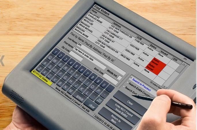 Die Speicherkarte dieses Wählcomputers ExpressPoll 5000 lässt sich herausnehmen und über einen PC einfach auslesen. (Bild: Election Systems & Software )