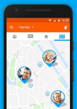 Die App Familonet zeigt unter anderem immer an, wo die anderen Familienmitglieder sihc gerade aufhalten. Die Technik dahinter ist für Moovel besonders interessant (Screenshot: Familonet)