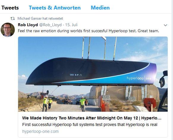 Ein Hinweis auf die nächste Station? Nach zahllosen Cisco-bezogenen Tweets ist Gansers bislang letzte Twitter-Aktivität ein Retweet des ehemaligen Cisco-Weggefährten Rob Lloyd, nun CEO bei Hyperloop (Screenshot: silicon.de)
