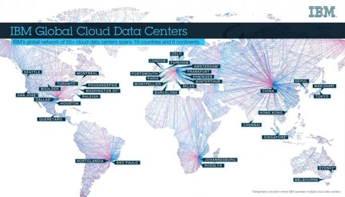 IBM hat im Juli 2017 vier neue Cloud-Rechenzentren in Betrieb genommen und verfügt damit über knapp 60 Cloud-Rechenzentren in 19 Ländern auf sechs Kontinenten. (Grafik: IBM)