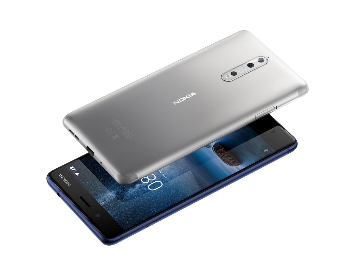 Leicht abgerundeten Displaykanten und so genanntes 2,5 D Glass zeichnen das Nokia 8 aus.  (Bild: HMD Global)