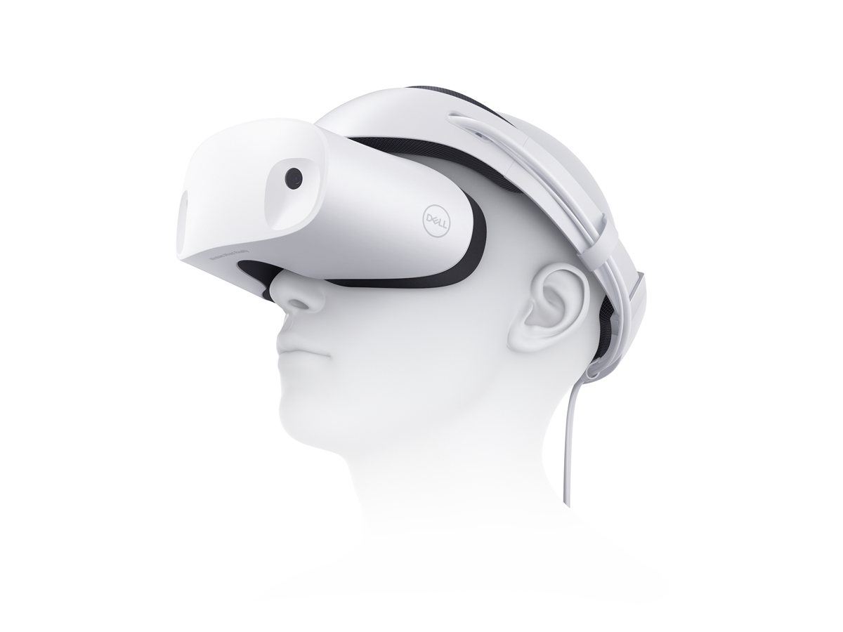 Dell VR118 head mounted display virtual reality (VR) visor headset., shown on a white mannequin head for scale.