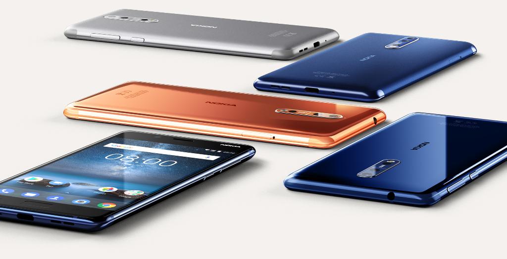 Das Nokia 8 ist in den Farben Stahlgrau, Tampered Blue, Polished Copper und Polished Blue erhältlich. (Bild: HMD Global)