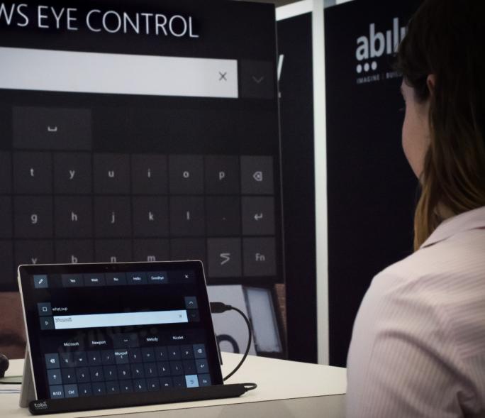 Auf dem Hackathon hat Microsoft die neue Windows-10-Funktion Eye Control zum ersten Mal demonstriert. (Bild: Microsoft)