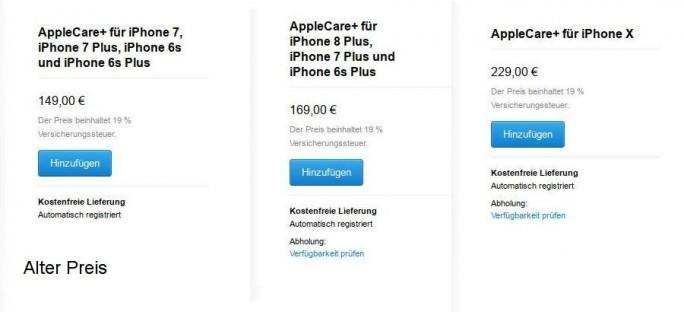 Die erweiterte Garantie AppleCare+ ist für iPhones um 20 Euro teurer geworden. (Screenshot: ZDNet.de)