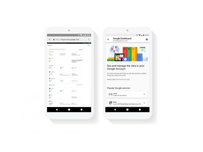 Das Google Dashboard auf Mobilgeräten  vorher (links) und nach dem Update (rechts). (Bild: Google)
