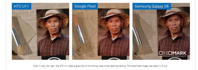 Immer wieder kann HTC mit guten Produkten überzeugen. Das U11 von HTC sorgt auch bei schwierigen Lichtverhältnissen für gute Bilder mit wenig Rauschen und hoher Detailauflösung. Diese Aufnahmen sind alle bei 5 Lux mit unterschiedlichen Geräten aufgenommen worden. (Screenshot: ZDNet.de)