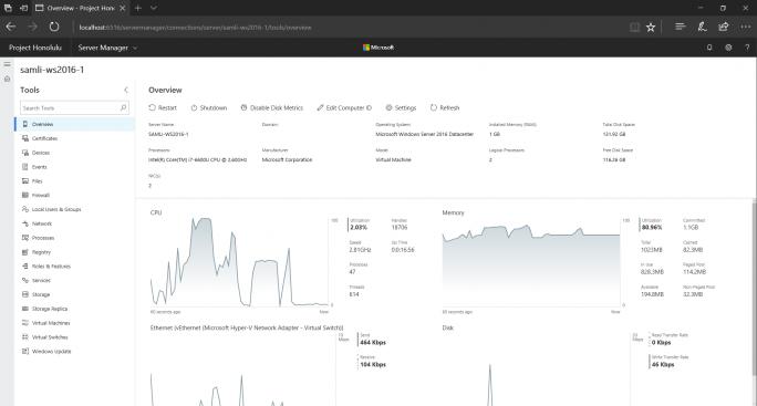 Mit dem Web-basierten Tool Honolulu können Anwender den Zustand einer Instanz oder eines Clusters von Windows Server überwachen. (Bild: Microsoft)