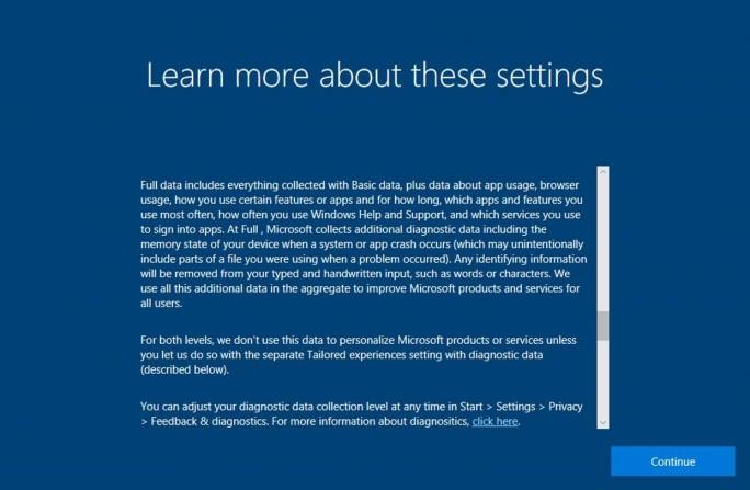 Anwender sollen nach dem Update vom 17. Oktober direkten Zugang zu den Datenschuzterklärungen von Microsoft bekommen. (Bild: Microsoft)