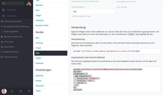 Die Chat-Funktionen lassen sich in Zammad 2.0 über ein Widget anpassen (Screenshot: Zammad)