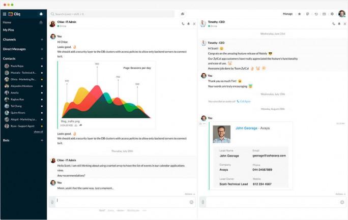 Das Collaboration-Tool Cliq von Zoho bietet eine vollständige Lösung für Unified Communication. (Bild: Zoho)
