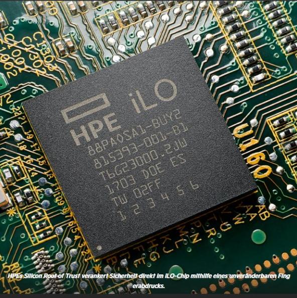 Mit Silicon Root of Trust verankert HPE Sicherheit direkt im iLO-Chip mithilfe eines unveränderbaren Fingerabdrucks. (Quelle: HPE)