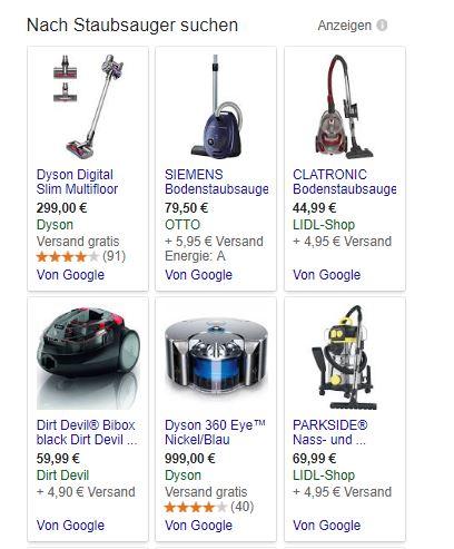 """""""Von Google"""". Eigenanzeigen in der Suchmaschine werden künftig europaweit als solche gekennzeichnet. Andere Preisvergleichsportale oder Händler können hier künftig auf die besten Plätze bieten. (Screenshot: silicon.de)"""
