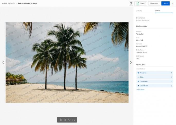 Die unberechtigte Nutzung von Bilder lässt sich in Box durch Wasserzeichen verhindern. (Screenshot: Box)