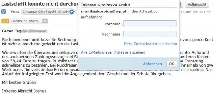 Gefährliche E-Mail (Screenshot: ZDNet.de)